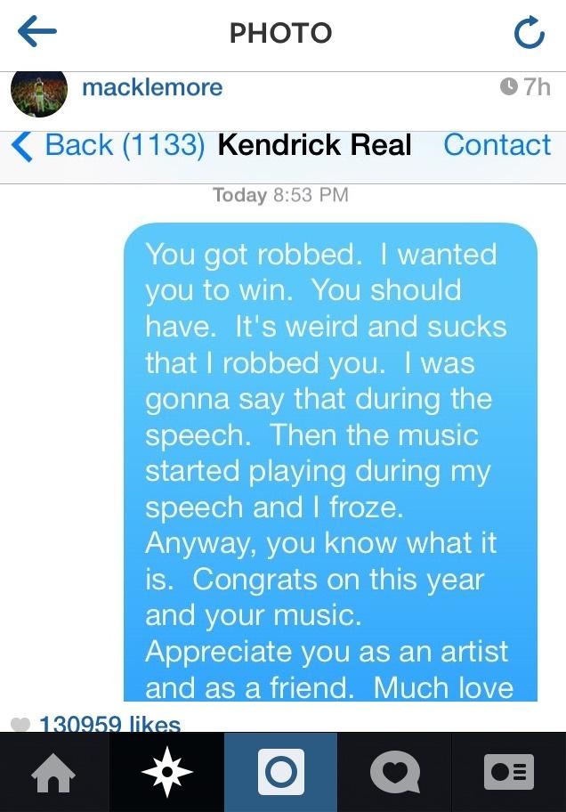 Macklemore diz que cor da sua pele ajudou-o a vencer Kendrick Lamar nos Grammy