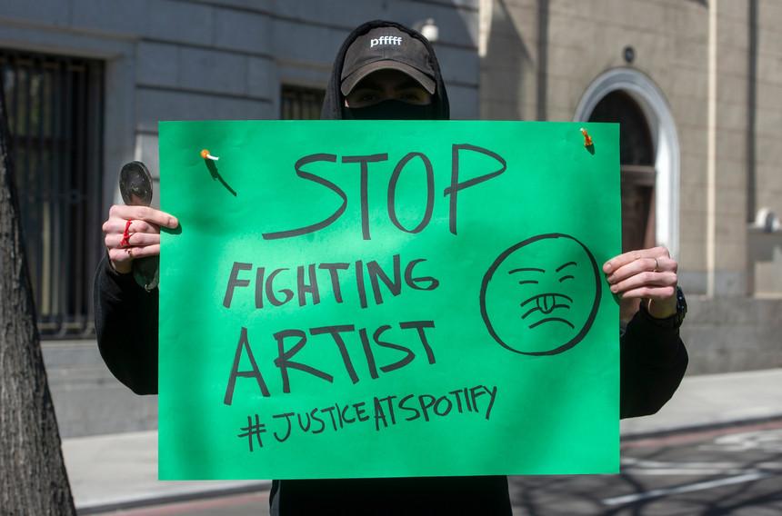 Artistas protestam contra o Spotify