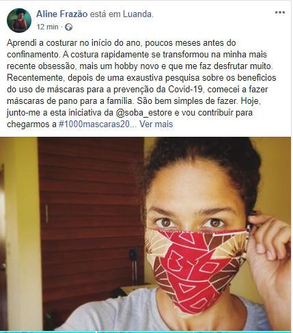 Aline Frazão junta-se ao projecto #1000Máscaras20Dias da Soba Store