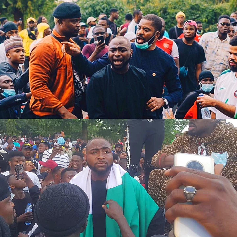 Davido na linha da frente dos protestos na Nigéria